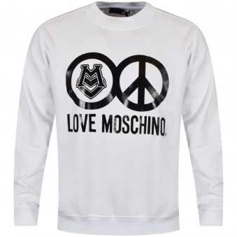 Love Moschino White Peace Logo Sweatshirt