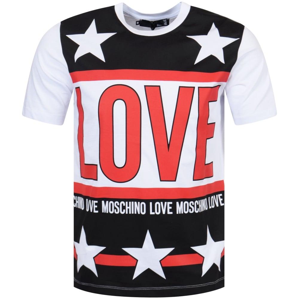 7b3c5d0c LOVE MOSCHINO Love Moschino White/Red/Black Star Print T-Shirt ...