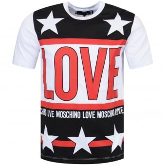 Love Moschino White/Red/Black Star Print T-Shirt