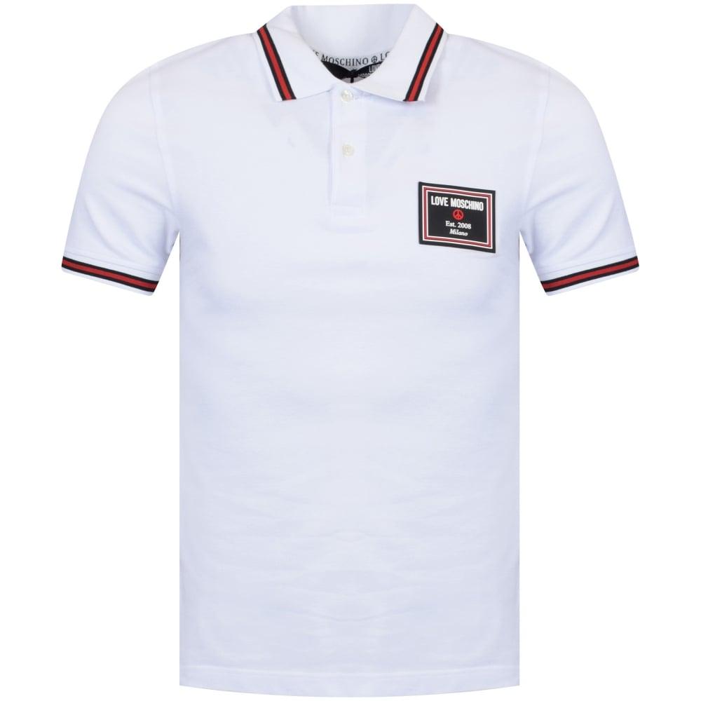 1bd38d849b LOVE MOSCHINO Love Moschino White Short Sleeve Rubber Logo Polo ...