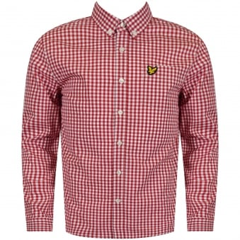 Lyle & Scott Boys Red Checked Long Sleeve Shirt
