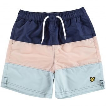 Lyle & Scott Junior Navy Horizontal Stripe Design Swim Shorts