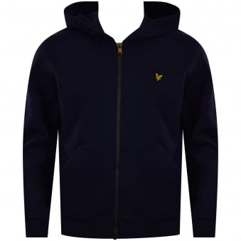Lyle & Scott Junior Navy Logo Zip Up Hoodie