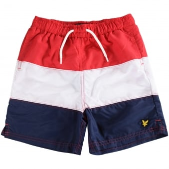 Lyle & Scott Junior Red/Navy/White Stripe Swim Shorts