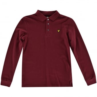 Lyle & Scott Kids Burgundy Long Sleeved Polo Shirt