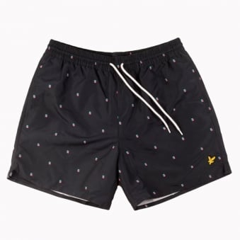 Lyle & Scott Navy Pattern Swim Shorts