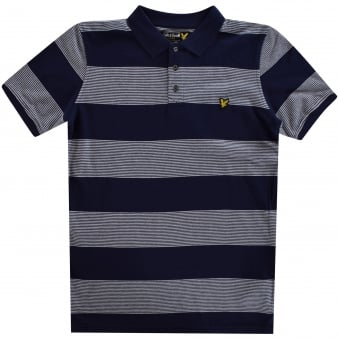 Lyle & Scott Navy Stripe Polo Shirt