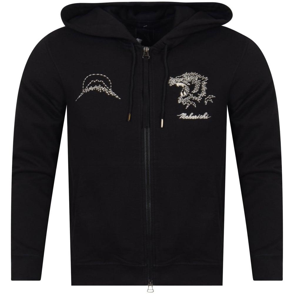 MAHARISHI Maharishi Black Tiger Stitched Hoodie - Men from ... b0daf575f
