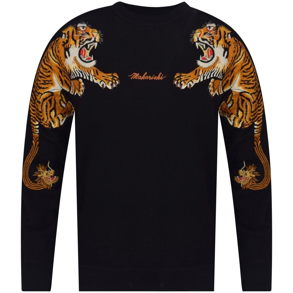 392c2f2d8 MAHARISHI Maharishi Crouching Tiger Embroidered Black Sweatshirt ...