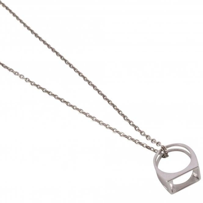 MAISON MARGIELA Décortiqué Pendant Silver Necklace Side