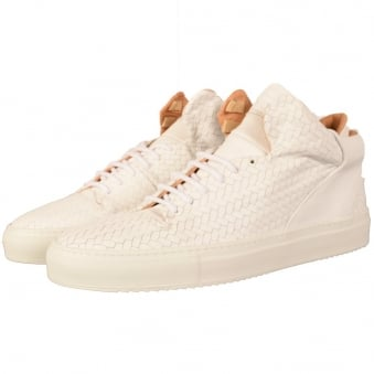 Mason Garments White Leather Woven Paloma Mid Trainers