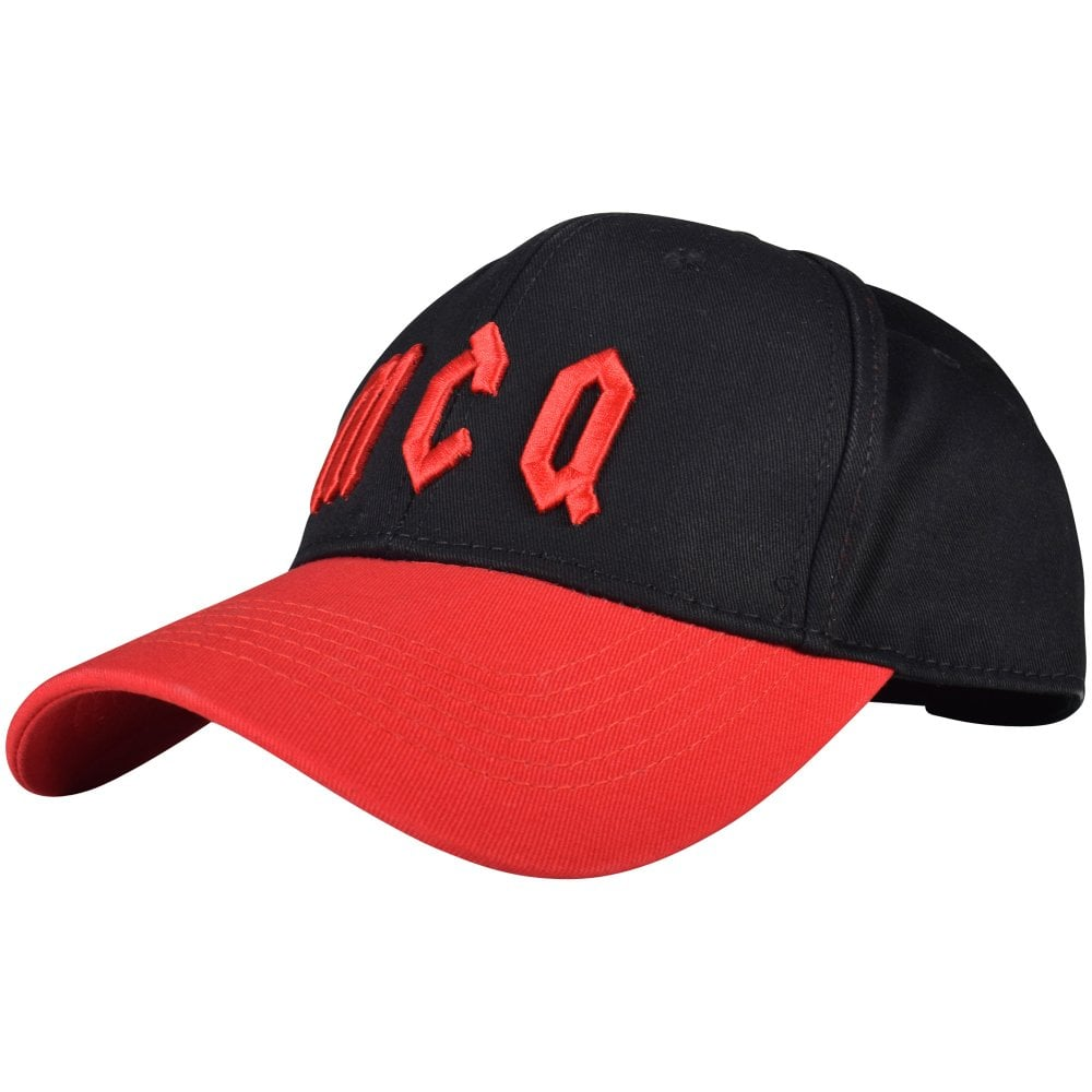 33327edaf65 McQ by ALEXANDER MCQUEEN Black Red Gothic Logo Cap - Men from ...