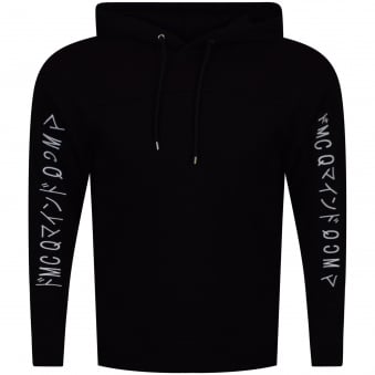 McQ by Alexander Mcqueen Black/White Embroidered Sleeve Text Pullover Hoodie