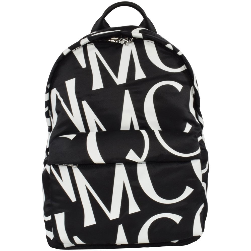 black backpack with MCQ logo pattern print in white