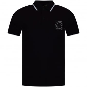 McQ by Alexander Mcqueen Black/White Patch Logo Polo Shirt