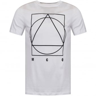 McQ by Alexander Mcqueen White/Black Large Logo T-Shirt