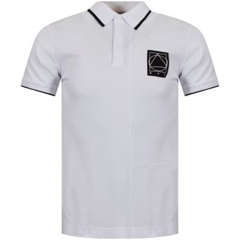 McQ by Alexander Mcqueen White/Black Patch Logo Polo Shirt