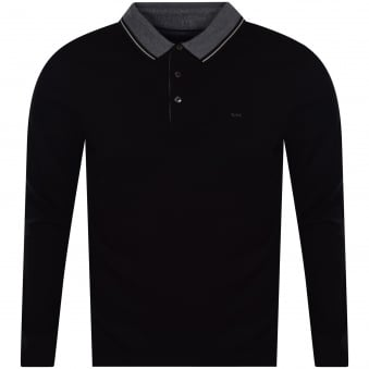 Michael Kors Black/Grey Long Sleeved Polo Shirt
