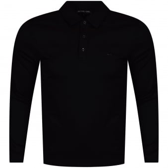 Michael Kors Black Long Sleeve Logo Polo Shirt