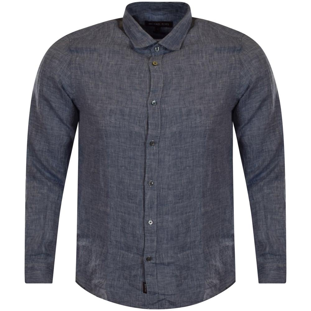 0c168ee992c6 MICHAEL KORS Michael Kors Blue Fleck Denim Linen Shirt - Men from ...