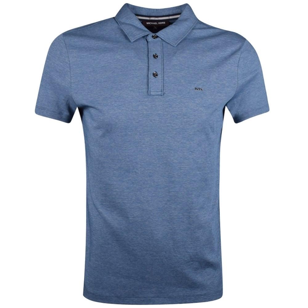 07256874 MICHAEL KORS Michael Kors Blue Marl Short Sleeve Polo Shirt ...