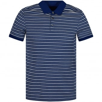 Michael Kors Blue/White Stripe Polo Shirt