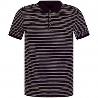 Michael Kors Burgundy/White Stripe Polo Shirt
