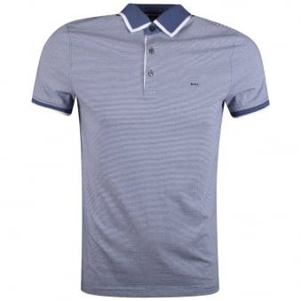 Michael Kors Chambray Striped Short Sleeve Polo Shirt