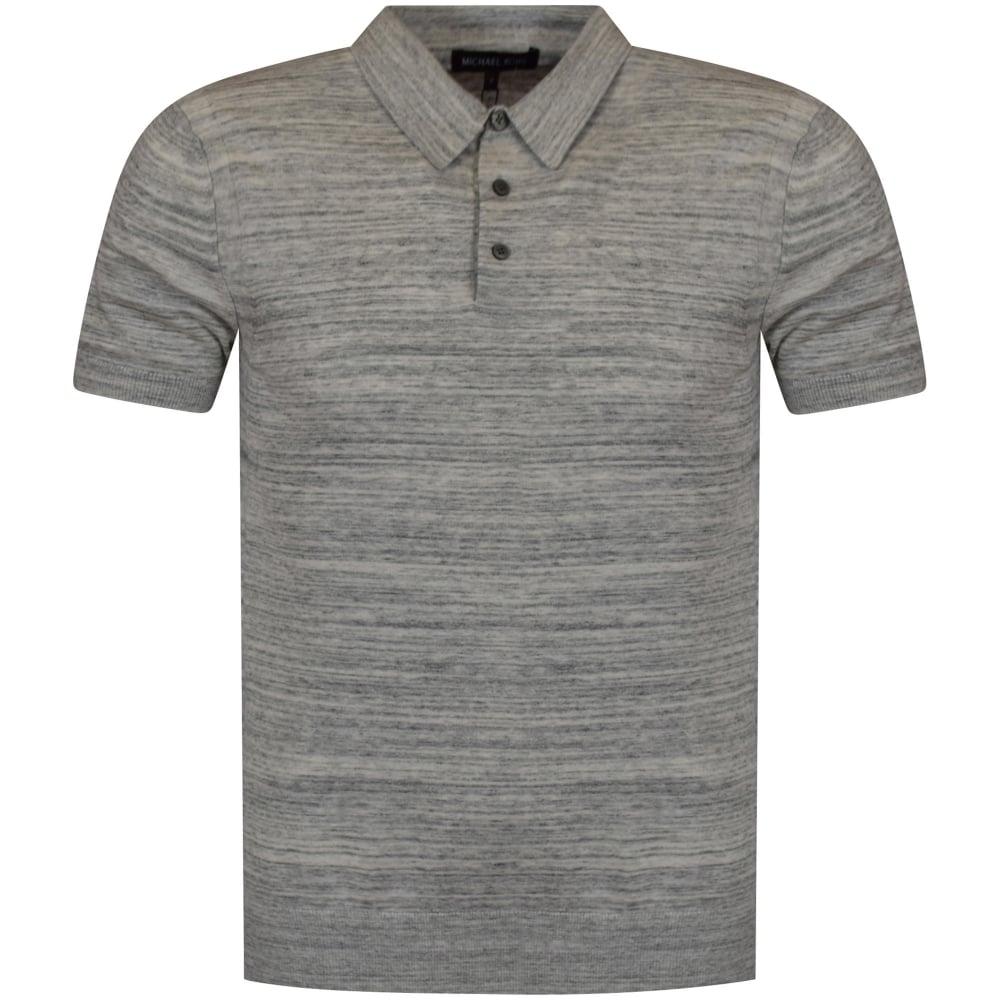 49f1eacf MICHAEL KORS Michael Kors Heather Grey Knitted Polo Shirt ...