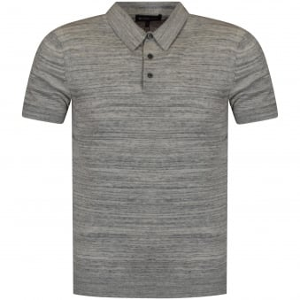 Michael Kors Heather Grey Knitted Polo Shirt