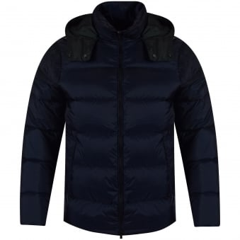Michael Kors Navy Logo Hooded Puffer Jacket