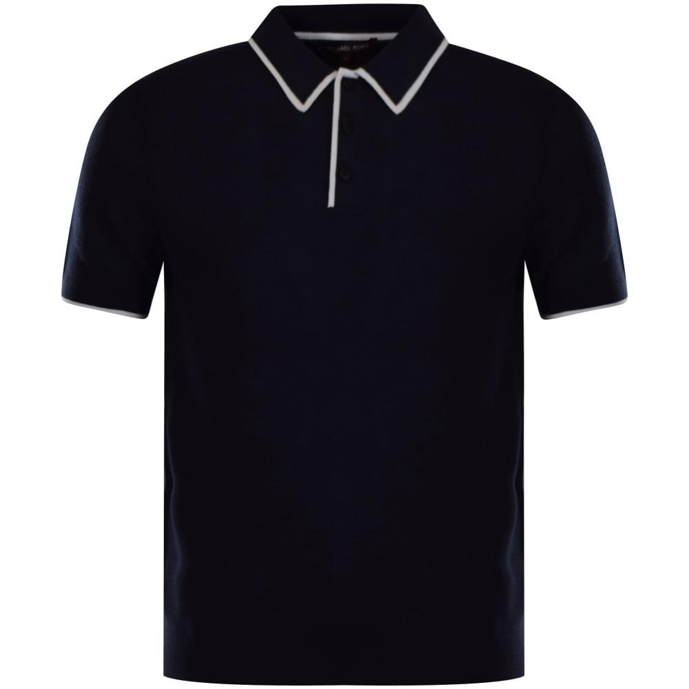 6ce9b89b7 MICHAEL KORS Michael Kors Navy Trim Knitted Polo Shirt - Men from ...