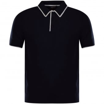 Michael Kors Navy Trim Knitted Polo Shirt