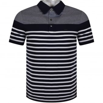 Michael Kors Navy/White Stripe Logo Polo Shirt