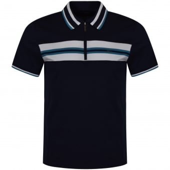 Michael Kors Navy Zip Up Polo Shirt