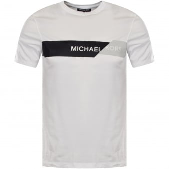 Michael Kors White Logo Stripe T-Shirt