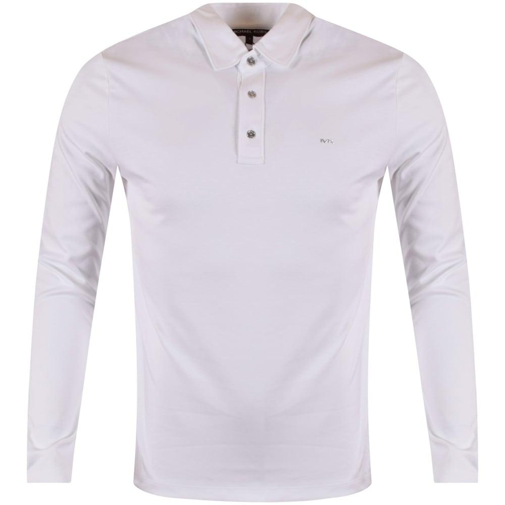 a0afb3964 MICHAEL KORS Michael Kors White Longsleeve Logo Polo Shirt - Men ...