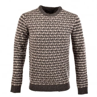 Minimum Zaiden Grey/Cream Knitted Crew Neck Sweater