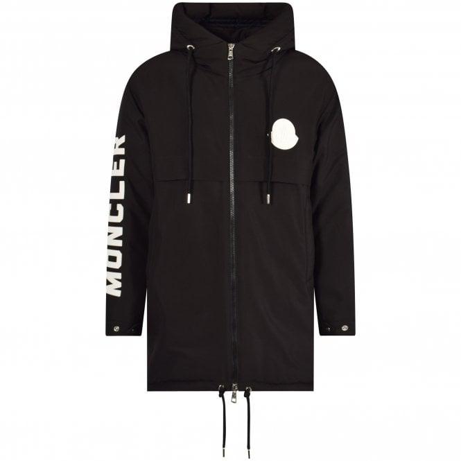 MONCLER Black Charnier Logo Parka Jacket Front
