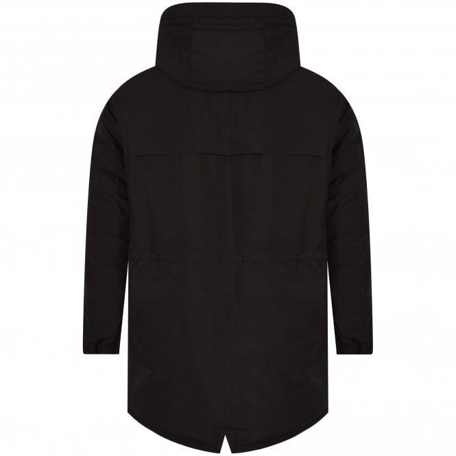 MONCLER Black Charnier Logo Parka Jacket Reverse