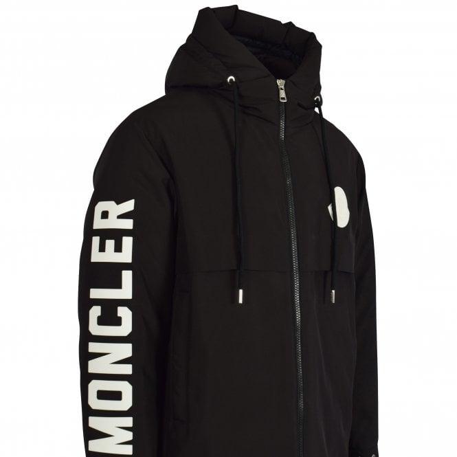 MONCLER Black Charnier Logo Parka Jacket Close