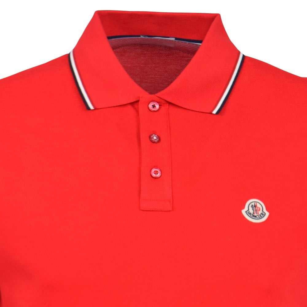 5ebc19135019 MONCLER Red Classic Tipped Polo Shirt - Men from Brother2Brother UK