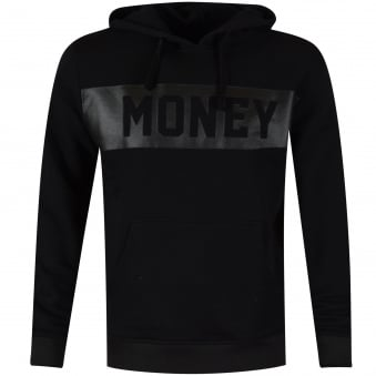 Money Clothing Black Panel Pullover Hoodie
