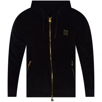Money Clothing Black Velour Track Hoodie