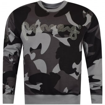 Grey Camo Diamante Sweatshirt