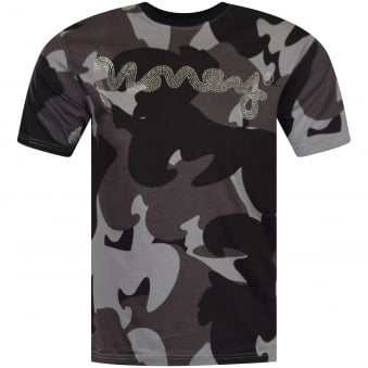 Grey Camo Diamante T-Shirt