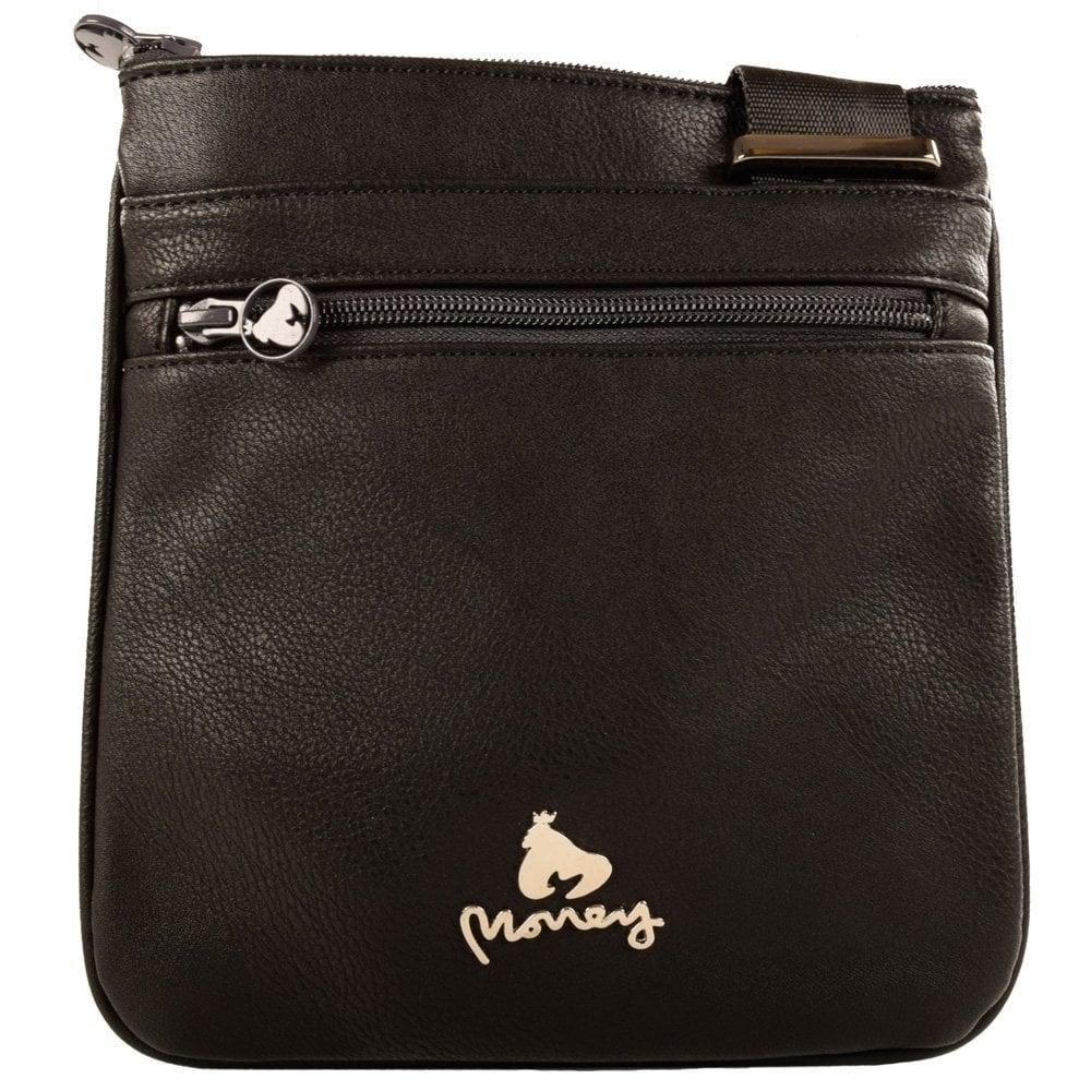 Money Clothing Money Black Leather Body Bag Men From