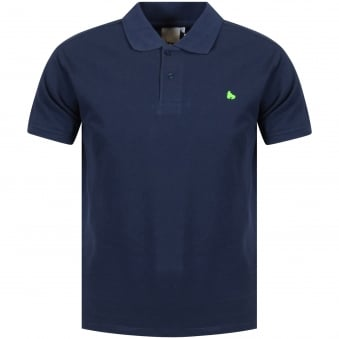 Money Clothing Navy/Green Logo Polo Shirt