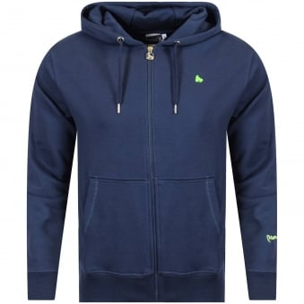 Money Clothing Navy/Green Logo Zip Hoodie