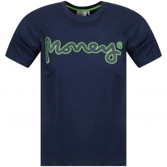 Money Clothing Navy Rubber Logo T-Shirt